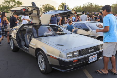 future twin: OCT 25, California: Back to Future Anniversary on OCT 25, 2015 at Twin Pines Mall, California Editorial