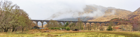 viaduct: The famous Glenfinnan Viaduct, mountain Scene
