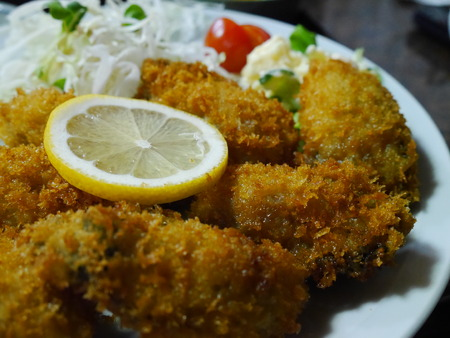 santa cena: Delicious Japanese style seafood - Fry Oyster at Japan Foto de archivo