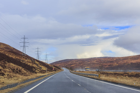 country side: Beautiful country side view with road and tree at Highland, Scotland