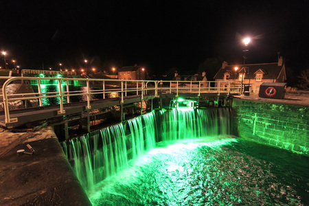 Locks on the Caledonian Canal at night in Fort Augustus