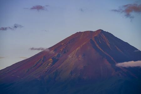 honshu: The famous Mount Fuji at Lake Kawaguchi, morning glow