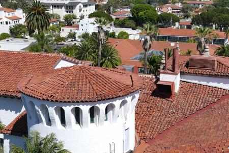 santa barbara: aerial landscapes seen from Santa Barbara County Courthouse, California