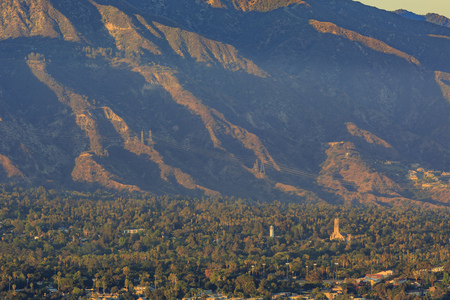 wilson: little church and Mt Wilson during sunset time Stock Photo