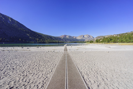 inyo national forest: The beautiful straight path at June Lake with Blue sky