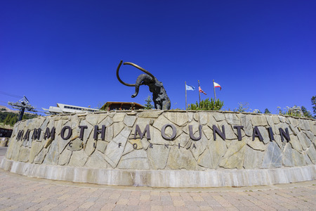 inyo national forest: The mammoth statue in Mammoth Lake with blue sky