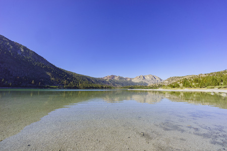 inyo national forest: The June Lake with Blue sky Stock Photo