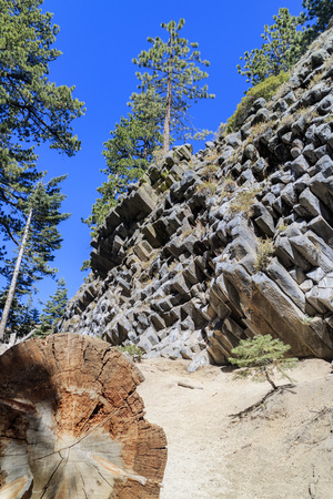 mammoth lakes: Geology of Basalt in Devils Postpile National Monument near Mammoth Lakes Stock Photo