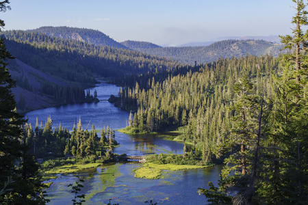 inyo national forest: landscape of Twin Falls Stock Photo