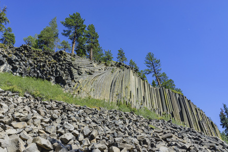 mammoth lakes: Special Geology of Basalt in Devils Postpile National Monument near Mammoth Lakes