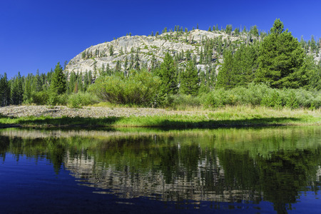 inyo national forest: landscape of mountain and reflection in Devils Postpile National Monument