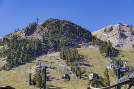 inyo national forest: landscape and cable cars near Adventure center of Mammoth Lake