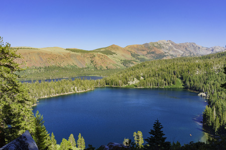 inyo national forest: Aerial view of Lake George and Lake Marry in Mammoth Lake