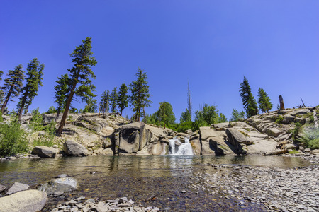 inyo national forest: The water Fall in Devils Postpile National Monument Stock Photo