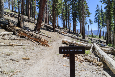 pacific crest trail: The famous Pacific Crest Trail junction at Devils Postpile National Monument