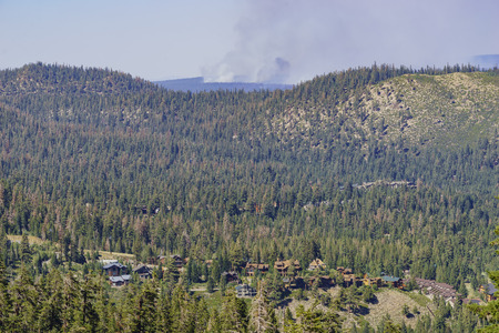 inyo national forest: Wild fire with smoke near Mammoth Lake