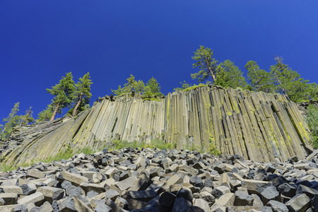 inyo national forest: Special Geology of Basalt in Devils Postpile National Monument near Mammoth Lakes