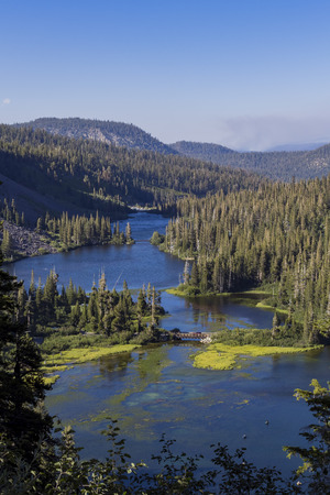 inyo national forest: landscape of Twin Falls Overlook around sunset time Stock Photo