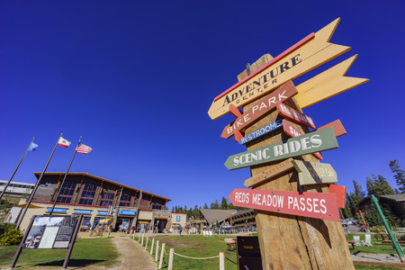 inyo national forest: Adventure center in Mammoth Lake with blue sky