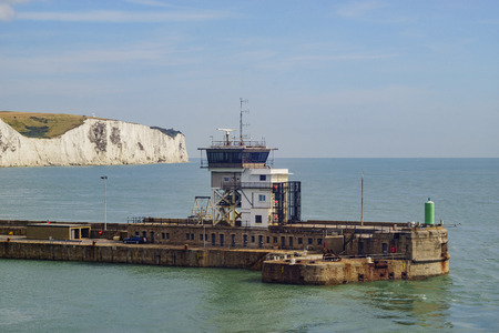 dover: The beautiful Dover Port with blue sky and clouds
