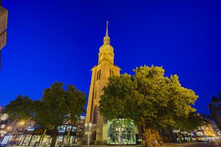 The famous and beautiful church - St. Reinoldi around night at Dortmund, Germany