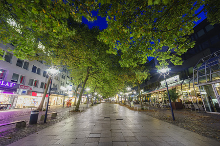 nightscape: Nightscape with trees and lights with a pathway under at Dortmund downtown, Germany Editorial