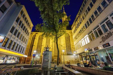 Dortmund, AUG 31:  church - St.-Katholisches Pfarramt St. Johannes Baptist around night with lights on AUG 31, 2016 at Dortmund, Germany