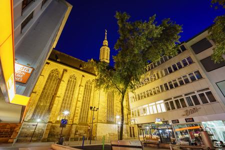 johannes: Dortmund, AUG 31: hurch - St.-Katholisches Pfarramt St. Johannes Baptist around night with lights on AUG 31, 2016 at Dortmund, Germany