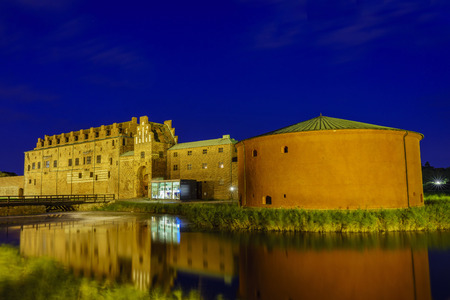 The historical Malmo Castle around night at Malmo, Sweden Editorial