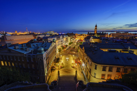 Aerial view of the beautiful city - Helsingborg, Sweden at night