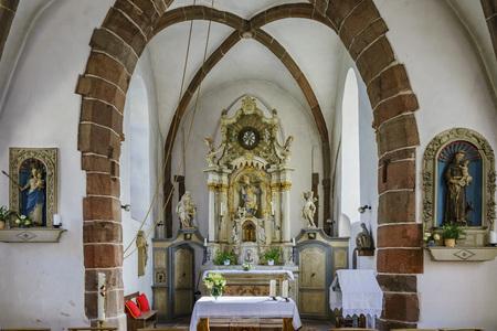 saint nicolas: Vianden, SEP 10: The interior of the church - Eglise Saint Nicolas on SEP 10, 2016 at Vianden, Luxembourg Editorial