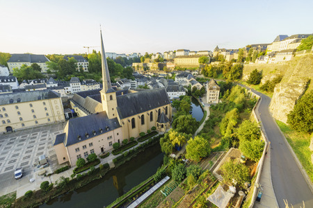 sun rise: The historical beautiful and superb view of the Grund, Luxembourg at sun rise Editorial