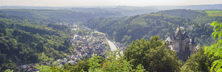 luxembourg: aerial view of  Vianden city, Luxembourg