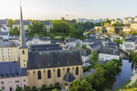 sun rise: The historical superb view of the Grund, Luxembourg at sun rise