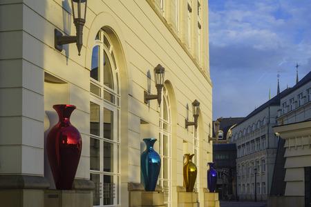 sun rise: The plaza around Cite Judiciaire Luxembourg at sun rise