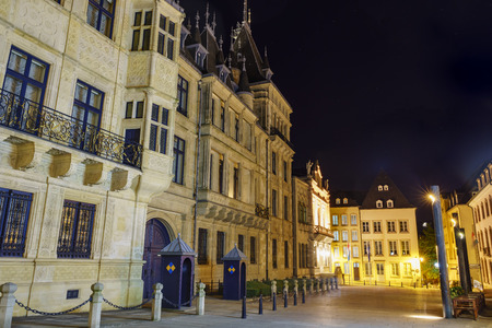 palais: The historical Palais Grand Ducal of Luxembourg at night Editorial