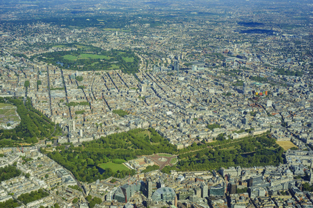 covent: Aerial View of BuckingHam Palace, St. Jamess Park, Mayfair, Westminster, Covent Garden, Soho, Fitzrovia, Holborn of London, United Kingdom