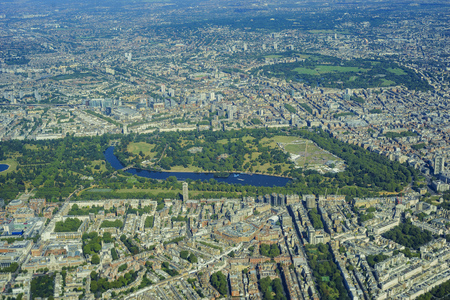 knightsbridge: Aerial view of Hyde Park, Palace Green, Knightsbridge, St Georges Fields, Bayswater, Westbourne Green, Marylebone of London, United Kingdom Stock Photo