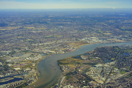 arsenal: Aerial view of Beckton, Creekmouth, Royal Arsenal, Thamesmead West, Polthorne Estate, Plumstead of United Kingdom Stock Photo