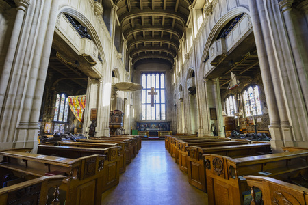 hallows: London, SEP 11: The historical and beautiful Interoir of All Hallows By The Tower Church on SEP 11, 2016 at London, United Kingdom Editorial