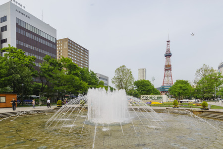 odori: Sapporo, MAY 23: The beautiful Odori Park with TV Tower on MAY 23, 2016 at Sapporo, Japan