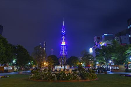 odori: Sapporo, MAY 23: The beautiful Odori Park with TV Tower at night on MAY 23, 2016 at Sapporo, Japan