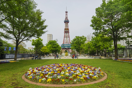 tv tower: Sapporo, MAY 23: The beautiful Odori Park with TV Tower on MAY 23, 2016 at Sapporo, Japan