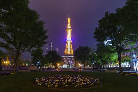 odori: The beautiful Odori Park with TV Tower at night, Sapporo, Japan