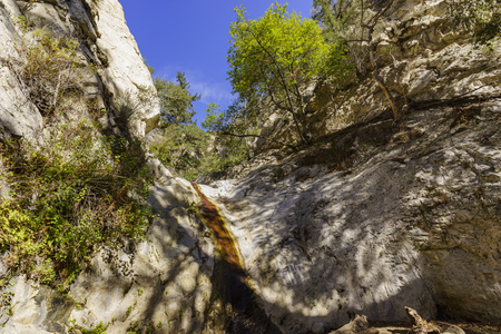 county side: fall color of Switzer Falls Trail, Los Angeles, California Stock Photo