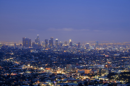 griffin: Griffin Observatory and Los Angeles downtown, twilight Stock Photo