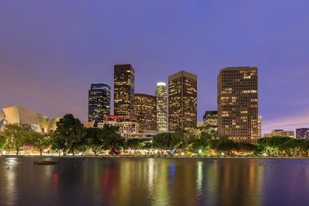 Reflection, Los Angeles downtown night scene, twilight