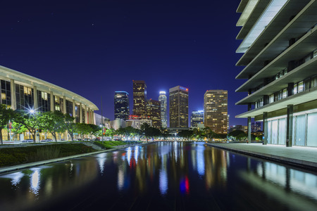 Los Angeles, JUL 10: Downtown with reflection at night on JUL 10, 2016 at Los Angeles, California