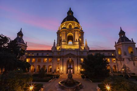 pasadena: The sunset scene of Pasadena City Hall near Los Angeles, California Stock Photo