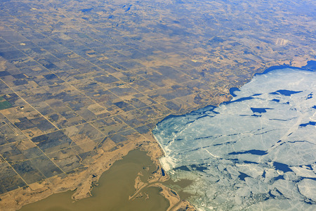 lake winnipeg: Aerial view of ice and lands of Winnipeg, Canada